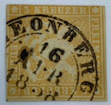 1857 WURTTEMBERG STAMP #9 WITH APRIL 1858 LEONBERG SON CANCEL