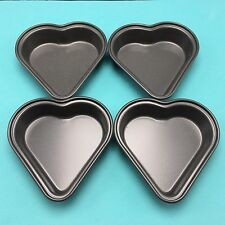 "4 Mini 4"" Heart Shaped CAKE PANS Non-Stick Coated Finish Metal Baking Tins"