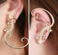 Silver Lizard Gecko Earring Over Ear Hook Cuff with Crystal Ladies GOTHIC PUNK