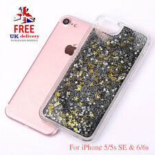 Liquid Glitter Black/Gold Glitter Stars TPU Bling Case For iPhone 5/5s SE 6/6s