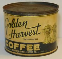 Vtg 1930s GOLDEN HARVEST GRAPHIC KEYWIND COFFEE TIN 1 POUND St. Louis Missouri