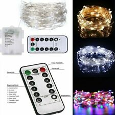 100 LED 10M Battery Operated Fairy Lights String Bedroom Outdoor + Remote Timer