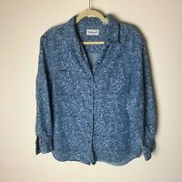 Westbound Women's Shirt Size Medium Top Cotton Floral Chambray Long Sleeves Blue