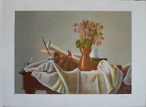 """Walter Falconi litografia """"tavolo dell' artiista"""" 76x56 firmata numerata A/M"""