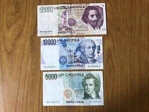 REPUBBLICA lotto 3 BANCONOTE LIRE 50000 BERNINI 1992 10000 VOLTA 5000 BERNINI