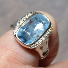John Hardy Batu Bamboo Rectangle Sky Blue Topaz & White Sapphire Ring 6 Ret 595