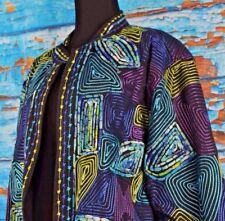 Life Style Women's Open Front Blazer Jacket Size 1X Colorful Cotton Spirals Plus
