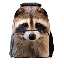 3D Raccoon School Bag Travel Hiking Outdoor Backpack Men Women Shoulder Au Oz