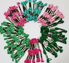 Lot of 99 Sks DMC 25 Embroidery Floss Mouline Special Green Teal Pink Deadstock