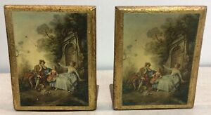 Pair of Vintage Florentine Gilt Italian Gold Wood with Scene Toleware Bookends