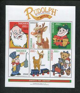 Tanzania Commemorative Souvenir Stamp Sheet - Rudolph The Movie Santa's Toy Shop