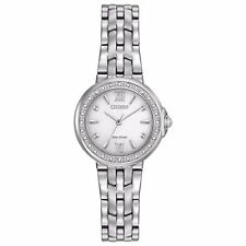 Citizen Eco-Drive Women's Diamond Accents Silver-Tone 28mm Watch EM0440-57A