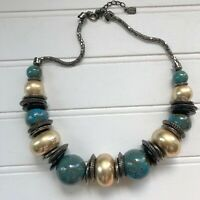 Boho Chunky Beaded Necklace Teal and Gold Tone Large Beads You & I