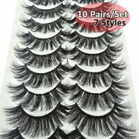 10 Pairs False Eyelashes 3D Mink Wispy Cross Long Thick Soft Fake Eye Lashes