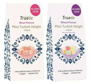 NEW NO ADDED SUGAR 150g Rose Mixed Flavour Mini Turkish Delight Diet Soft Candy