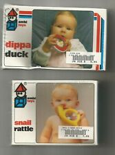 2 1980s Ambi Toys ~ Dippa Duck and Snail ~ Teethers / Rattles ~ Sealed Boxes