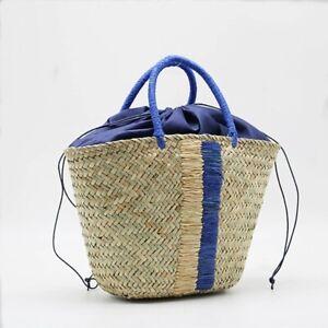Women Bucket Straw Tote Bag Handmade Tassel Handbag Summer Beach Bag