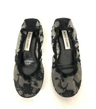 MANOLO BLAHNIK Shoes Lace Ballet Flats Black Leather Canvas Flats Sz 38/8 US GUC