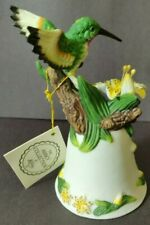 """Vintage Abby collection Hand Painted Humming bird bell 5.5"""" tall with box"""