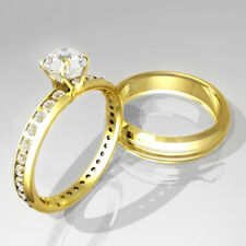 Affordable Engagement Ring Wedding Sets 2Ct Brilliant Cut 14k Yellow Gold Over