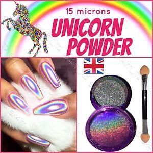 UNICORN NAIL POWDER HOLOGRAPHIC EFFECT MIRROR HOLO CHROME NAILS PIGMENT 15µ! UK