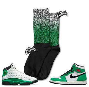 Elephant Print Socks for Jordan 13 Lucky Green WMNS Pine 1 Mid T Shirt to Match