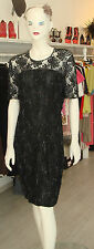 VTG 80S BLACK LACE SHEER BEADED SEXY SILK TROPHY PARTY COCKTAIL DRESS SZ M