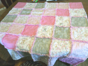 HANDMADE BABY GIRL WOODLAND CRITTERS/BIRDS FLANNEL RAG QUILT