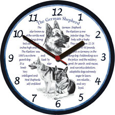 German Shepherd Alsatian Large Wall Clock - Dog Breed Origins Animal Facts