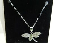 Dragon Fly Cubic Zirconia Rounds in Wing 18' Sterling Silver Necklace 925 BD0003