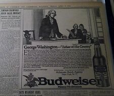 APR 9, 1915 NEWSPAPER PAGE #J5393- BUDWEISER- GEORGE WASHINGTON- NEW YORK, NY
