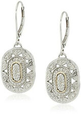 Wedding Jewelry 14k Yellow Gold and Silver Gemstone Art Deco-Style Drop Earrings