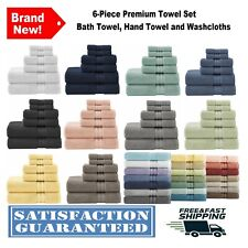 6-Piece Towel Set Textured Bath Hand Towels Washcloths Soft Absorbent Cotton