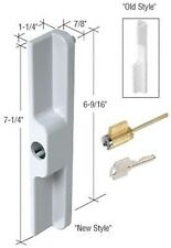 Sliding Glass Patio Door Outside Pull with Key Cylinder, White