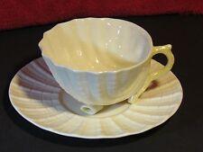 Belleek Neptune (Irish) Yellow Lustre Teacup w/Bonus Saucer, Excellent Condition