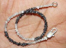 "8.02cts Natural White & Black Rough Raw Diamond Beads 6.5"" Bracelet 925 Silver 0"