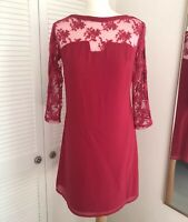 Little Mistress Red Lace Shift Dress Size 10 Mini Valentine Party 3/4 Sleeve NWT