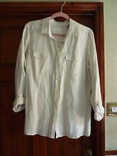 Marks And Spencer Collection  Linen Shirt.  Natural. stripe size 18