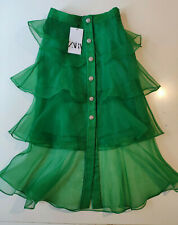 Zara Emerald Green Organza Ruffle Skirt With Sparkly Rhinestone Buttons XS BNWT