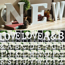Freestanding Wooden Letters Shape White Alphabet Name DIY Craft Home Decor Tools