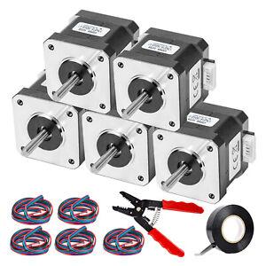 VEVOR Nema17 Stepper Motor 45N.cm High Torque 1.5A 42x40 mm 5pcs for 3D Printer