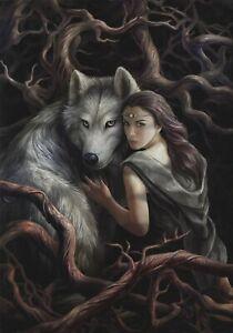 Anne Stokes Wolf Friend Pagan Wicca Gothic Birthday Card Soul Bond Fantasy NEW
