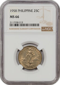 1958 PHILIPPINES 25C MS 66 ONLY 1 GRADED HIGHER!!