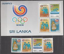 SRI LANKA 1988 OLYMPIC GAMES SET & MINATURE SHEET MINT NEVER HINGED