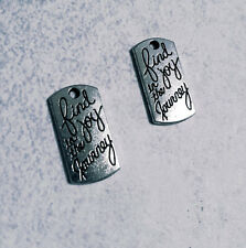 10 Word Charms Quote Charms Find Joy in The Journey Silver Inspirational Charms