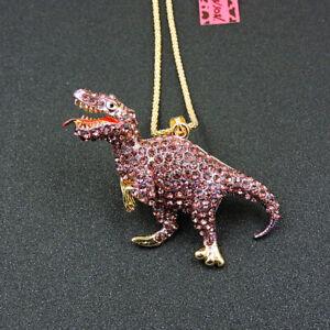 Betsey Johnson Purple Enamel Rhinestone Dinosaur Crystal Pendant Chain Necklace