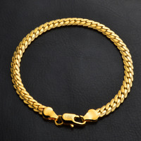 Fashion 18K Gold Plated Bangle Chain Bracelet Wristband Jewelry 5MM