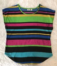 Cato Women's MultiColor Sequin Striped Casual Blouse Top Size Large