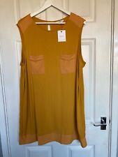 BNWT Next Women's Mustard Sleeveless Tunic Length Top Size 22