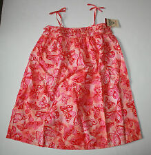 New OshKosh Sleeveless Summer Dress Size 8 NWT Pink Butterfly Print Girls